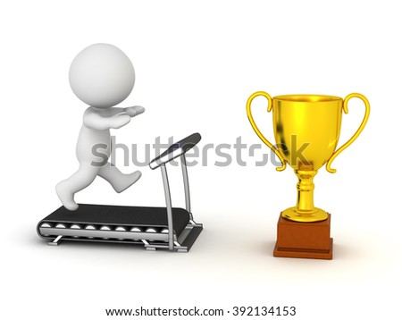 3D character running on a treadmill with a large golden trophy in front. Isolated on white background. - stock photo