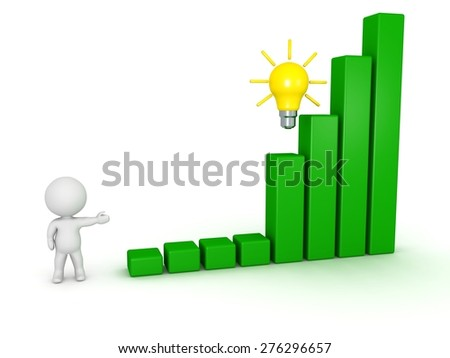 3D Character Showing Bar Chart and Idea  - stock photo