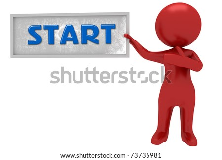 3d character showing start board - stock photo