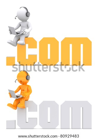 3d character sitting on .com domain sign. - stock photo