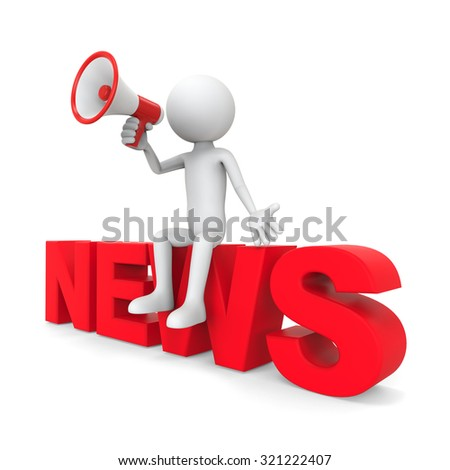 "3d character sitting with megaphone on text ""news"" - stock photo"