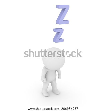 3D Character Standing and Sleeping with Z letters - stock photo