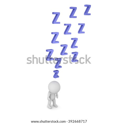 3D character standing with shoulders slupmed, and with many Z letters above him. Isolated on white background. - stock photo