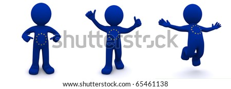 3d character textured with flag of European Union isolated on white background - stock photo