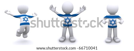 3d character textured with flag of Israel isolated on white background - stock photo