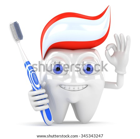 3d character tooth with toothbrush - stock photo