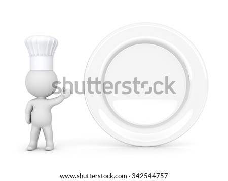 3D character wearing a chefs hat, showing a large empty plate. Isolated on white background.  - stock photo