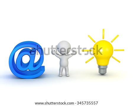 3D character with arms raised, an At symbol, and a light bulb idea. Isolated on white background. - stock photo