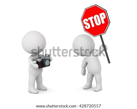 3D character with stop sign and character with a photo camera. Isolated on white background. - stock photo