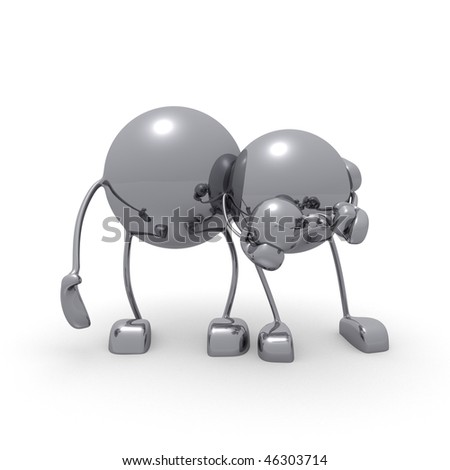 3d characters and a family or a metal balk in action - stock photo