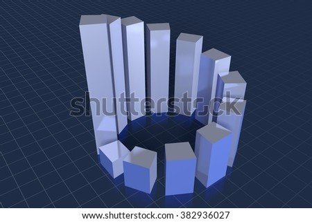 3D chart - great for topics like growth, prosperity, finance, market, economy, investment etc. - stock photo