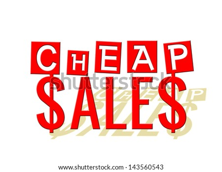 3D Cheap Sales text isolated on white - stock photo