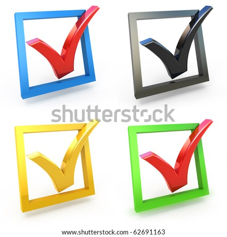3d check box with check mark set isolated on white - stock photo