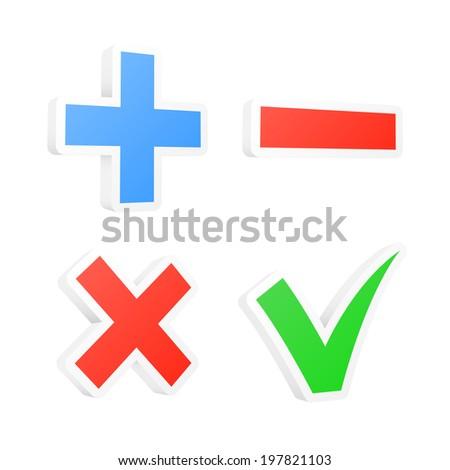 3d checkbox symbols. 2d illustration - stock photo