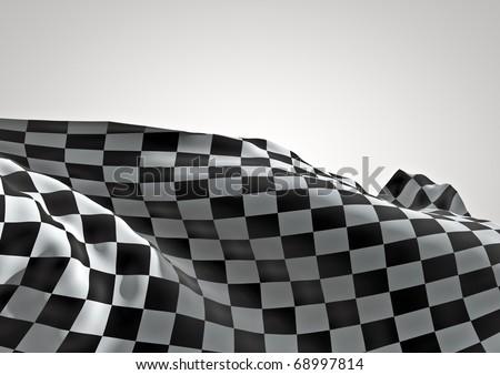 3d checkered flag - stock photo