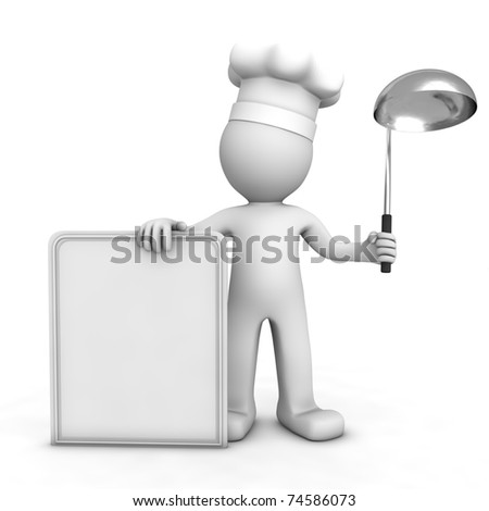 3D chef with blank menu board. Isolated - stock photo
