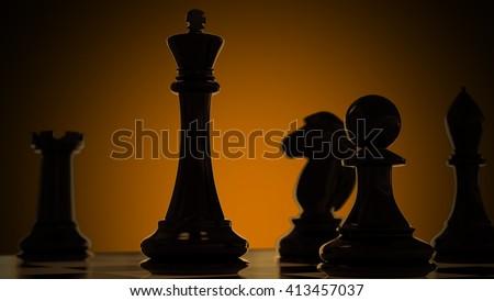 3D chess - stock photo