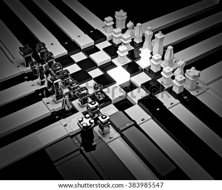 3d chess board with figures. The concept design of futuristic chess figures and checkerboard. - stock photo