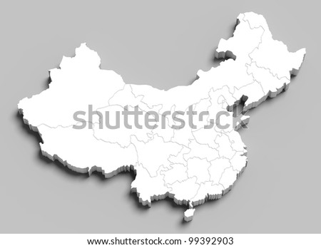 3d China white map on grey isolated - stock photo