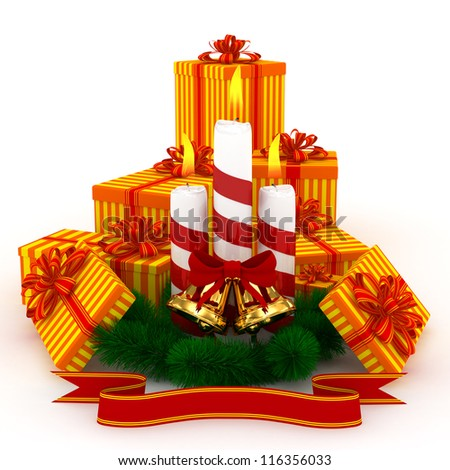 3D Christmas Burning candles with golden bells, orange gifts and sprigs of christmas tree isolated on white - stock photo