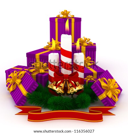 3D Christmas Burning candles with golden bells, purple gifts and sprigs of christmas tree isolated on white - stock photo