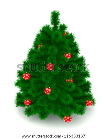 3D Christmas tree and christmas balls isolated on white - stock photo