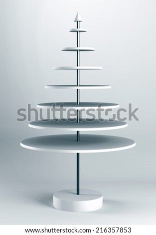 3D Christmas tree shelves and shelf design - stock photo
