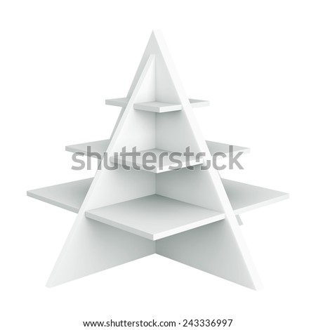 3D Christmas tree shelves and shelf design, object isolated - stock photo
