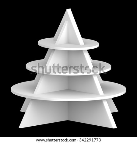 3D Christmas tree shelves and shelf design, object isolated die cut - stock photo