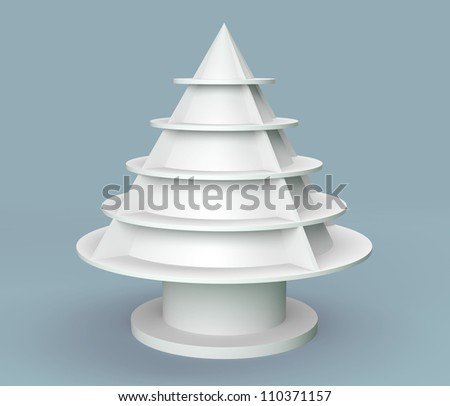 3D Christmas tree shelves and shelf design on background - stock photo