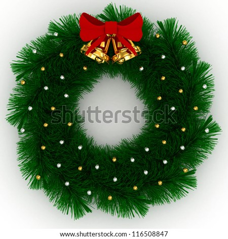 3D Christmas wreath with red bow, christmas balls and jingle bells isolated on white background - stock photo