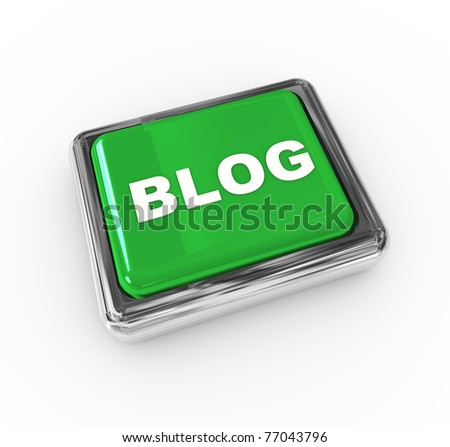 3d chrome push button with text 'blog' - stock photo