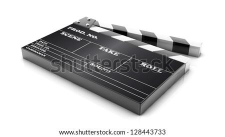 3d cinema clapboard on white background - stock photo