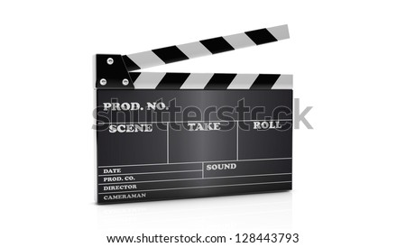 3d cinema clapboard on white background - stock photo