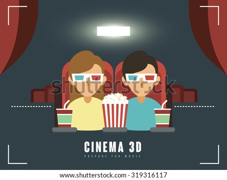 3d cinema concept in flat design style - stock photo