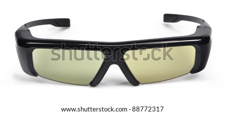 3D cinema glasses isolated on white background - stock photo