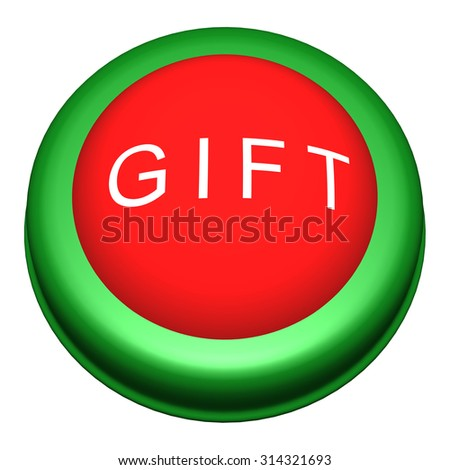 3D Circle Button with Gift Word on White Background - stock photo