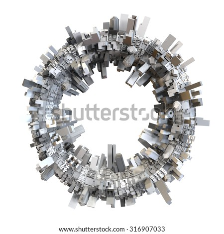3D circle shaped city model - stock photo