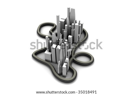 3d city, abstract small city, city with highways, model of a city, city skyline, 3d metropolis, mega-city model, cityscape model, aerial view of a 3d city, concept city - stock photo