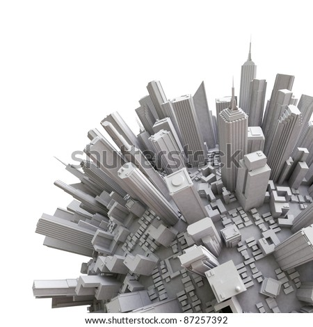 3d city globe - detail - stock photo