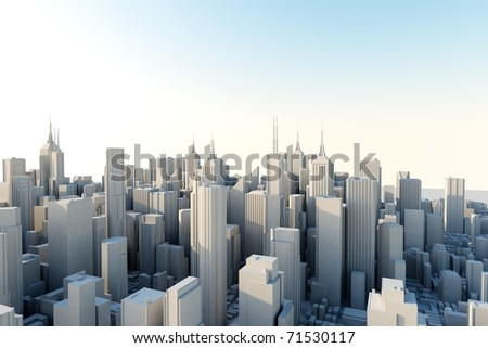 3d city in sunny day - stock photo