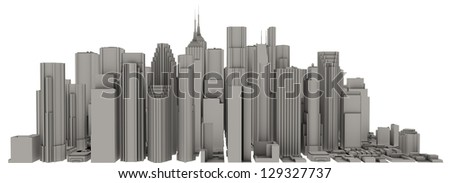 3d city isolated - stock photo