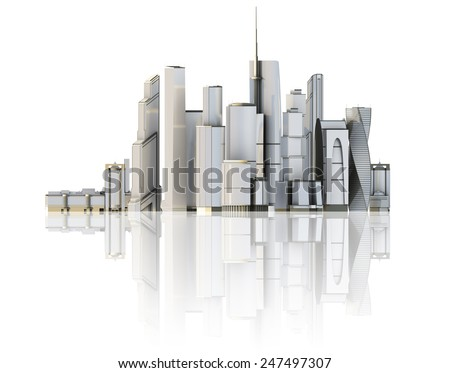 3d city isolated on mirror floor. 3d rendered illustration of a futuristic city. - stock photo