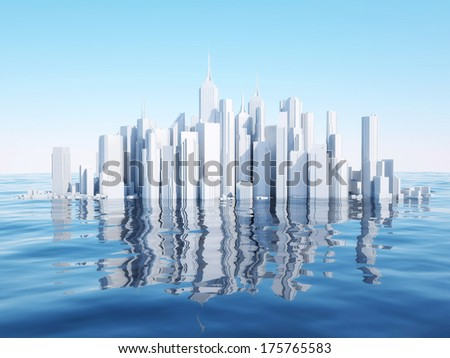 3d city on water surface - stock photo