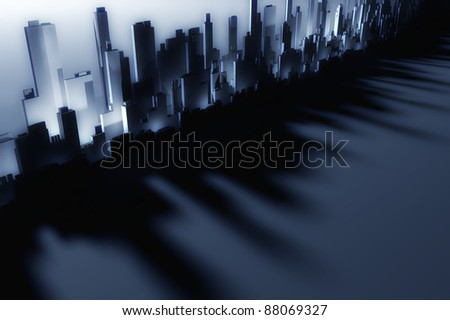 3d city skyscrapers - stock photo