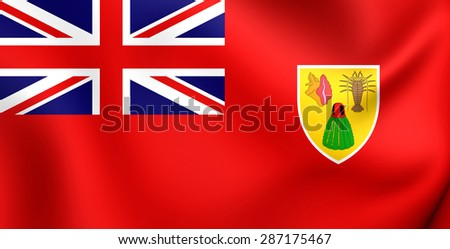 3D Civil Ensign of the Turks and Caicos Islands. Close Up. - stock photo