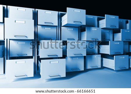 3d classic  file cabinet background - stock photo