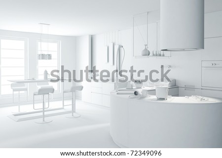 3d clay rander of a modern kitchen - stock photo