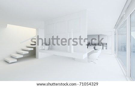 3d clay render of a modern interior design - stock photo