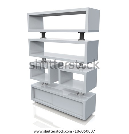 3d clean white and aluminum column store shelves and new design for products showing in convenience store isolated background with work paths, clipping paths included  - stock photo